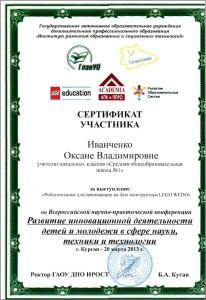 сертификат участника конференции 2013